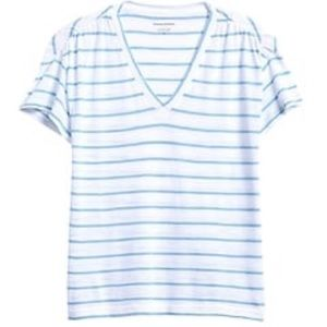 banana republic striped ruched shoulder tee